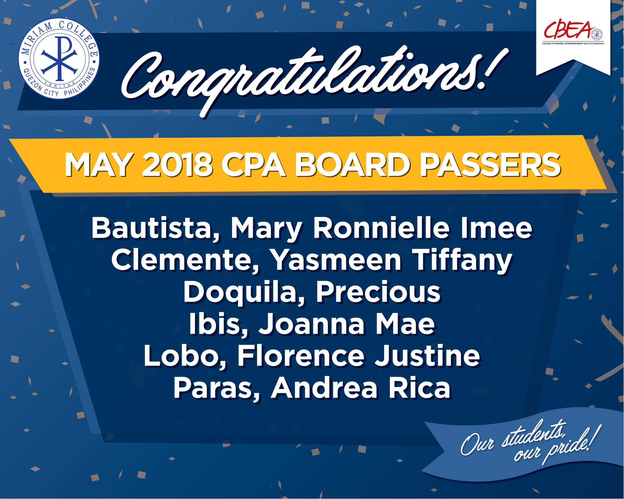 Congratulations to our new Certified Public Accountants!