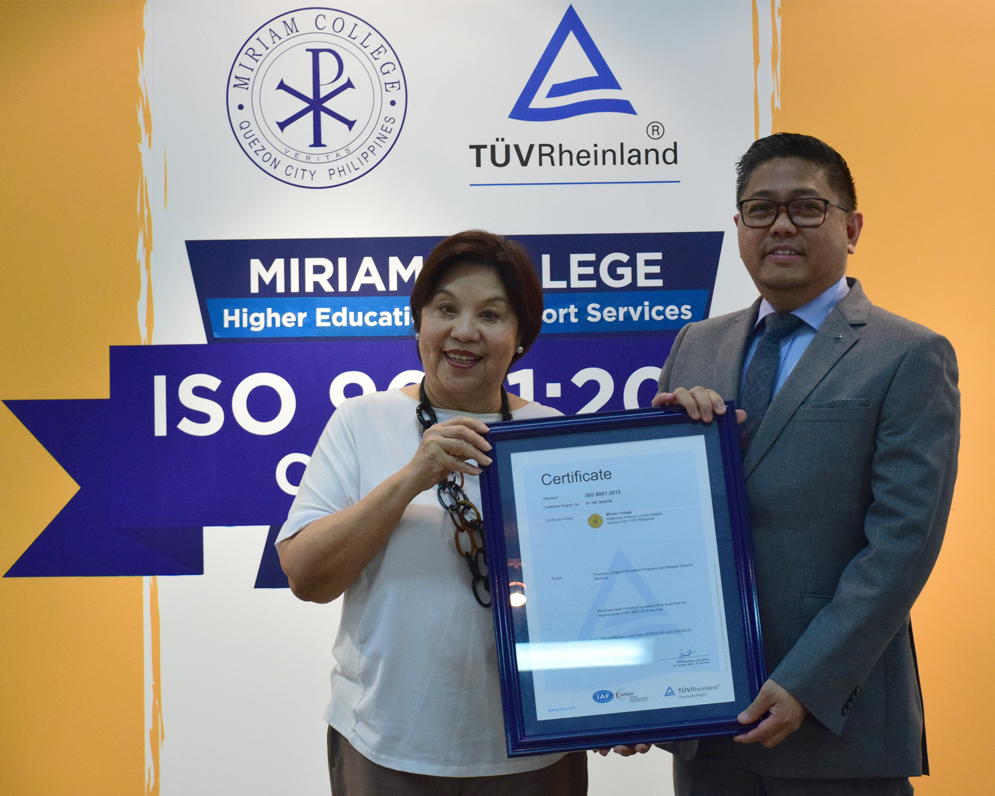Miriam College is ISO 9001: 2015 certified for the Higher Education Unit and Support Services