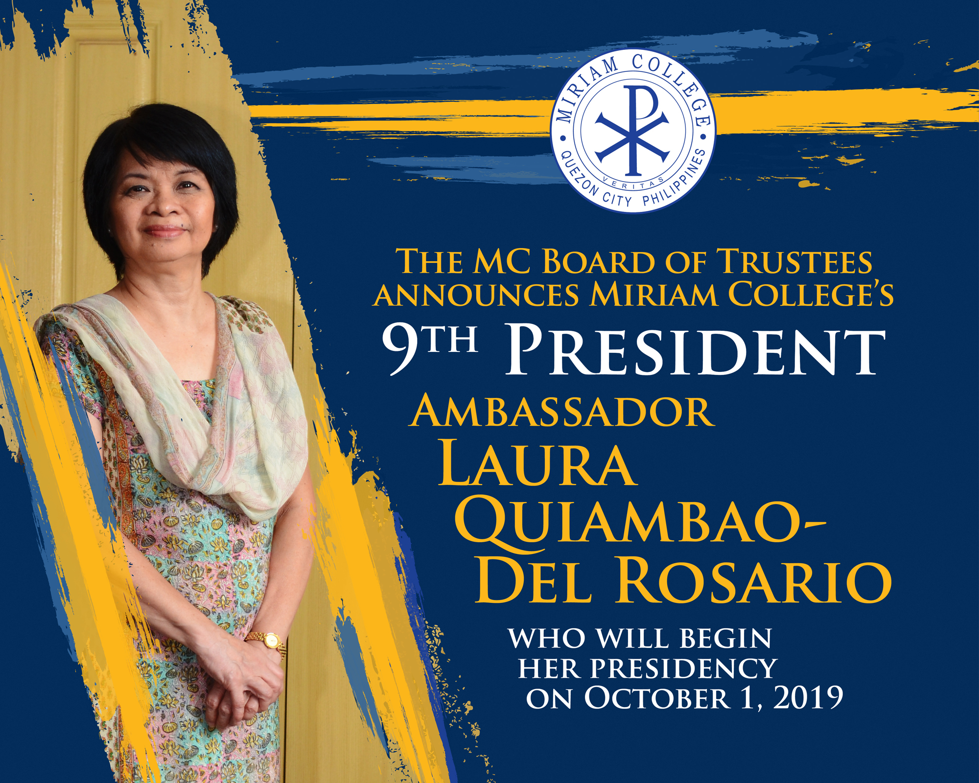 Miriam College's 9th President begins her term on October 1, 2019
