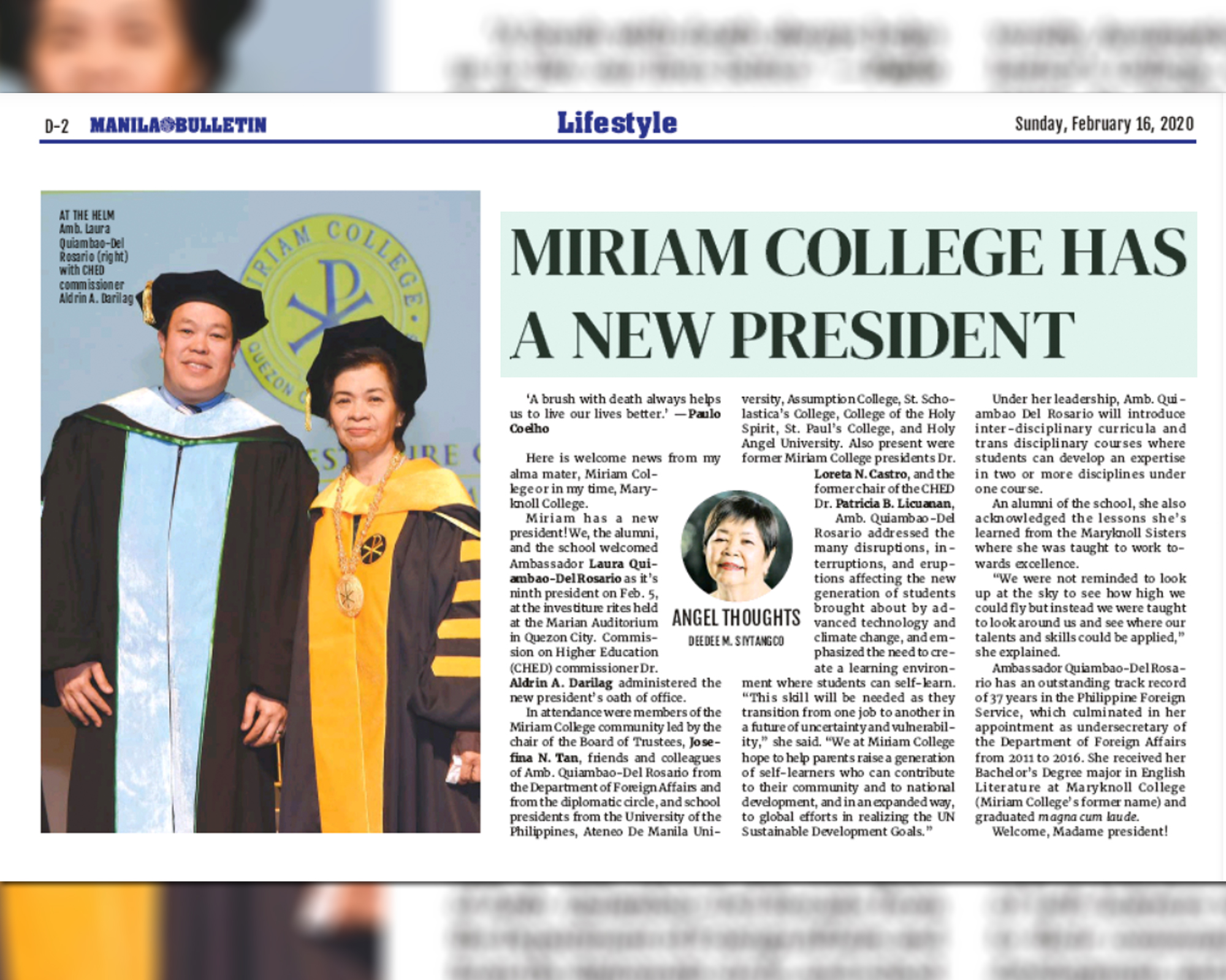 Miriam College has a new President by Deedee M. Siytangco  |  Manila Bulletin
