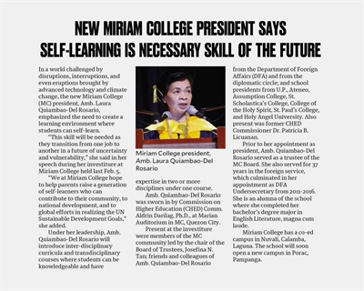 New Miriam College President says self-learning is a necessary skill of the future  |  Philippine Daily Inquirer