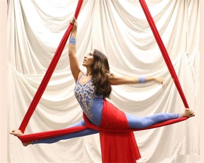 MCHS alumna and executive Janice Velasco Gruenberg flies high in two aerial silk championships