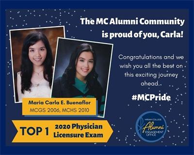 MCHS alumna Maria Carla E. Buenaflor tops the 2020 Physician Licensure Exam