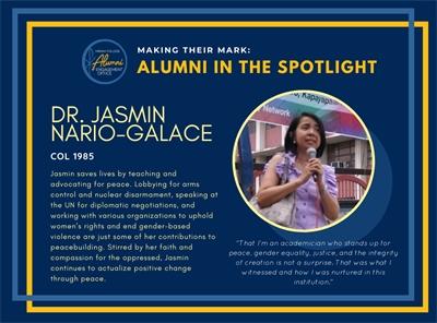 Alumni in the Spotlight: Dr. Jasmin Nario-Galace (COL 1985)