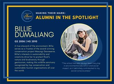 Alumni in the Spotlight: Billie Dumaliang (GS 2006   HS 2010)