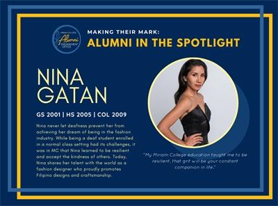 Alumni in the Spotlight: Monina Gatan (GS 2001, HS 2005, COL 2009)