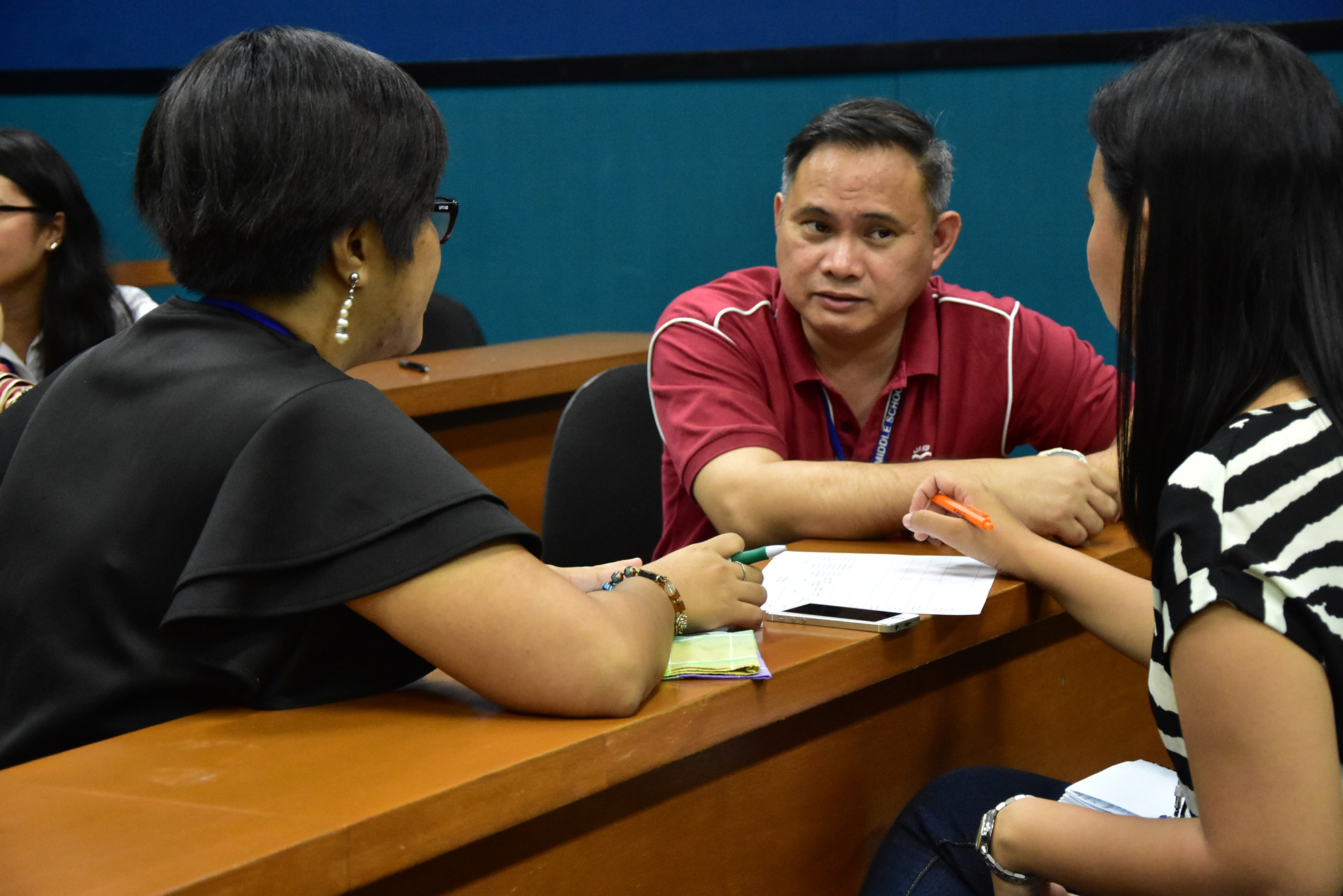 Mr. Jude Gorospe of the MC Research Council, assisting MAE faculty on their unit research plan.