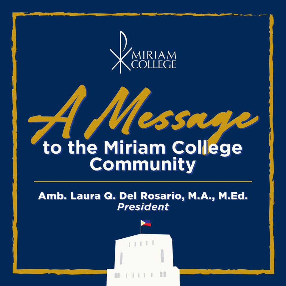 A Message to the Miriam College Community  |  Amb. Laura Q. Del Rosario, President