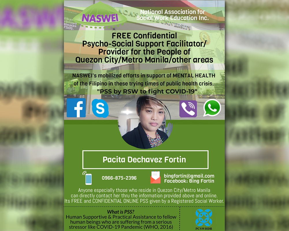 Miriam College Social Work faculty and alumni join social workers offering online psychosocial support to those in distress due to COVID-19