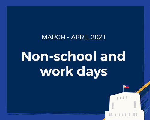 Non-school/work days in March and April 2021